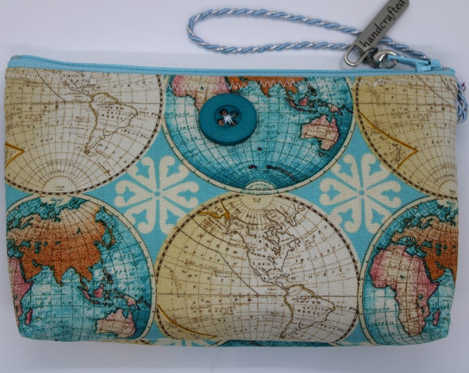 Wristlet with Map Print sized to carry your cellphone