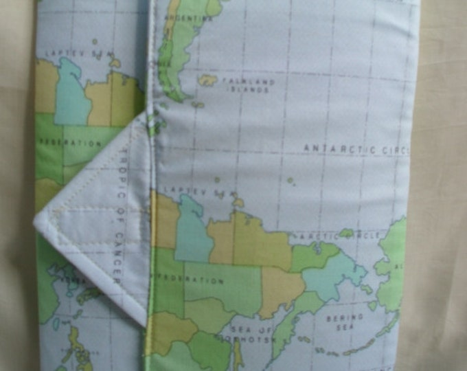 Fabric Tablet or E Reader Cover in Blue Map Print