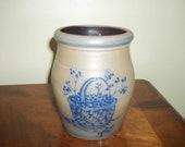 Rowe Pottery Works Salt Glazed Blueberry Crock Dated 1992
