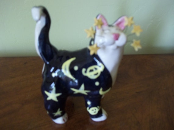 Amy Lacombe Whimsiclay 2001 Annaco Yellow Fruity Cat Figurine Signed Retired Mint