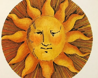 Vintage Original DICK SEEGER Thick Ray Sun Face Art Card