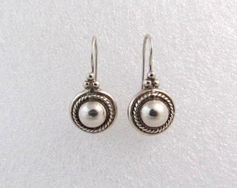 Vintage Solid Sterling Silver Bead Earrings Signed SU