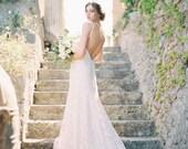 Blush Wedding Dress, Ivory Lace Mermaid Bridal Gown, Couture Bridal Gown, Low Back Wedding Dress, Lace Mermaid Wedding Dress - Sage
