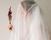 Modern Netting Tulle Bridal Veil, Ivory Tulle Blusher Wedding Veil, Fingertip Length Drop Bridal Veil, Ivory Handmade Veil - Style 818