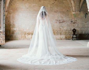 Lace Cathedral Mantilla Wedding Veil, Long Ivory Lace Bridal Veil, Traditional Lace Mantilla Wedding Veil - Style 301