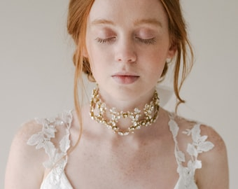 Crystal Bridal Choker Necklace, Beaded Gold Wedding Necklace, Couture Statement Bridal Jewellery, Floral Choker Beaded Necklace - Style 816