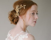 Crystal Lily of the Valley Bridal Headpiece, Brass Floral Statement Wedding Headpiece, Gold Plated Crystal Wedding Hair Comb - Style 814