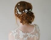 Modern Crystal Floral Bridal Hair pins, Couture Bridal Headpiece, Gold Boho Wedding Hair Pins, Ivory Gold Wedding Hair Pins - Style 811