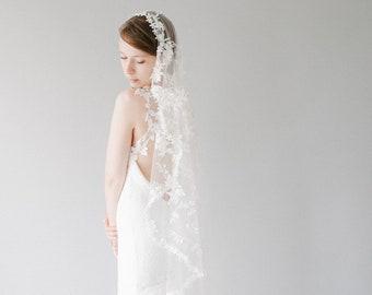 Couture 3D Lace Mantilla Wedding Veil, Modern Floral Bridal Veil, Short Handmade Fingertip length Wedding Veil - Style 827