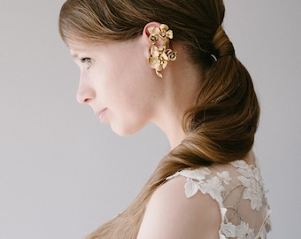 Brass Floral Bridal Ear Cuff, No Pierced Statement Ear Cuff, Nature Inspired Flower Ear Climber, Crystal Cartilage Ear Wrap - Style 910