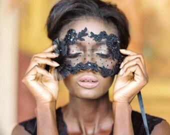 "Beaded Alencon Lace Dotted eye mask, Bridal Boudoir polka dot eye mask, Wedding Gift - ""Style 719"""