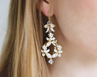 Ivory Crystal Statement Bridal earrings, Floral Chandelier clip on earrings, Modern Bridal Wedding Jewelry, Bridesmaids Gift - Style 722