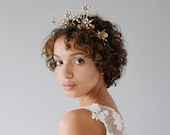 Crystal Celestial Bridal Crown, Brass Gold Wedding Hair Crown, Celestial Star Bridal Headband, Crystal Bridal Tiara Headpiece - Style 822