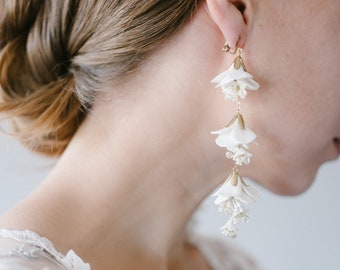Ivory Floral Drop Bridal earrings, Long Crystal Floral Statement Wedding Earrings, Bridal Wedding Jewellery, Bridesmaids Gift - Style 902