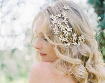 Bridal Headpiece, Crystal Headpiece, Floral Headpiece, Wedding Headpiece, Bridal Hair Comb, Wedding Hair Comb, Wedding Accessory - Style 502