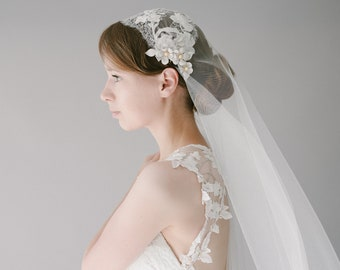 French Lace Embroidered Juliet Cap Wedding Veil, Long Ivory Chapel Bridal Veil, Modern Lace Juliet Cap Cathedral Veil - Style 907