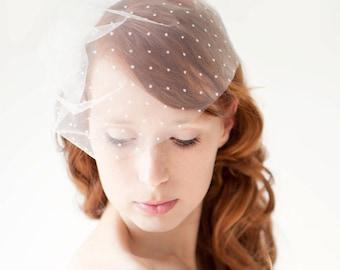 "Polka dot Veil, Ivory Blusher Wedding Veil, Birdcage Bridal Veil, Ivory Dotted Veil, Short Dotted Birdcage Wedding Veil - 10"" Polka dot Veil"