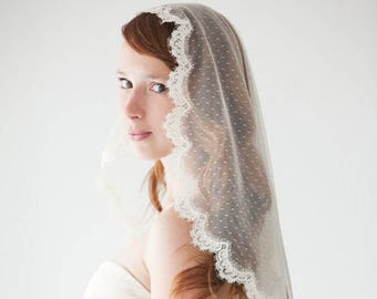 Wedding Veil, Bridal Veil, Swiss Dot Veil, Lace Mantilla Veil, Mantilla Veil, Corded Lace Veil, Ivory Veil, Dotted Veil - Lovely