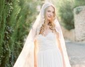Juliet Cap Veil, Ivory Cathedral Veil, Silk Juliet Veil, Lace Wedding Veil, Long Bridal Veil, Handmade Veil, Bohemian Veil - Style 511