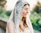 Bridal Veil, LaceVeil, Mantilla Veil, Lace Crystal beaded, Wedding Veil, Chapel Veil - Style 302