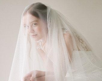 Style 818 - Modern Tulle and Netting Ivory Fingertip Length Bridal Wedding Veil
