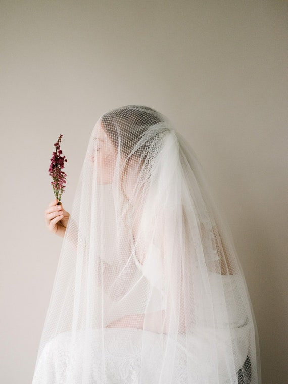 Modern Netting Tulle Bridal Veil, Ivory Tulle Blusher Wedding Veil, Fingertip Length Drop Bridal Veil, Ivory Handmade Veil   Style 818 by Etsy