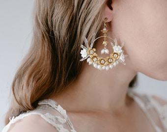 Quartz Crystal Beaded Hoop Statement Bridal Earrings, Pearl Beaded Flower Pendant Wedding Earrings, Bohemian Bridal Jewellery - Style 908
