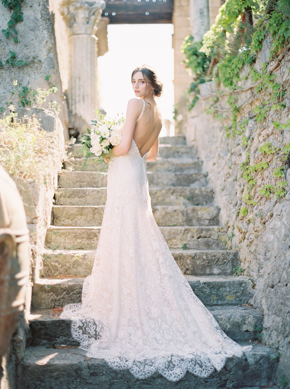 Erröten Sie Hochzeit Kleid Elfenbein-Spitze Mermaid