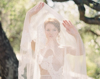 Polka Dot Wedding Veil, Lace Blusher Bridal Veil, Handmade Dotted Wedding Veil, Floor Length, Long Ivory Lace Veil - Allure