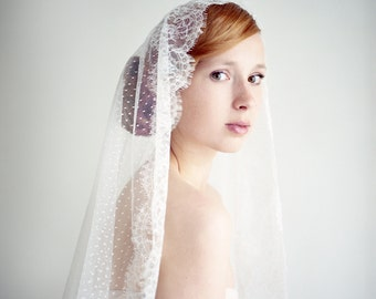 Wedding Veil, Fingertip Length, Bridal Veil, Lace Mantilla Veil, Dotted Lace Veil, ivory veil, Polka dot Veil, Short Ivory Veil - Style 233