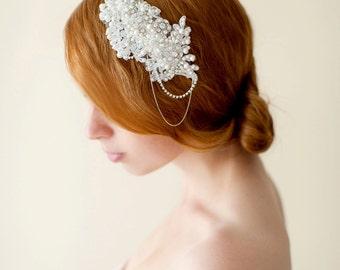 Crystal Spitzebrauthaarkamm, Perle Braut Kopfschmuck, Kristall Hochzeitshaarkamm, Elfenbein Vintage inspiriert Kopfstück - Stil 230