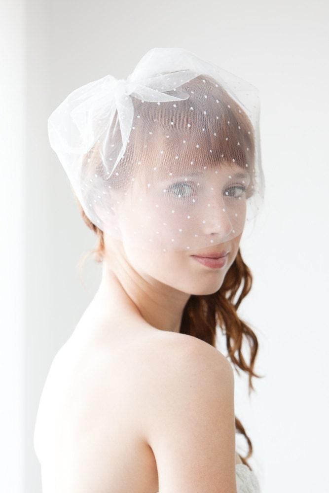 "Polka Dot Bridal Veil, Blusher Wedding Veil, Dotted Birdcage Bridal Veil, Short Ivory Blusher Veil, Tulle Birdcage Veil - 11"" Polka Dot Veil"