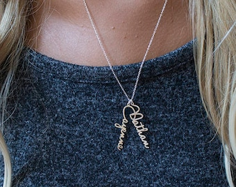 Best name necklace monogram necklaces bar by bestnamenecklace custom vertical name necklace up to 5 names dainty family kids name necklace pendants small minimalist signature mini name necklace aloadofball Choice Image