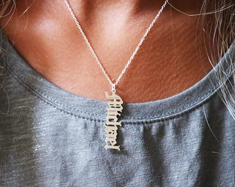 Hip hop necklace etsy vertical old english style name necklace sterling silver or gold plated personalized custom made for you gothic old english hip hop aloadofball Gallery