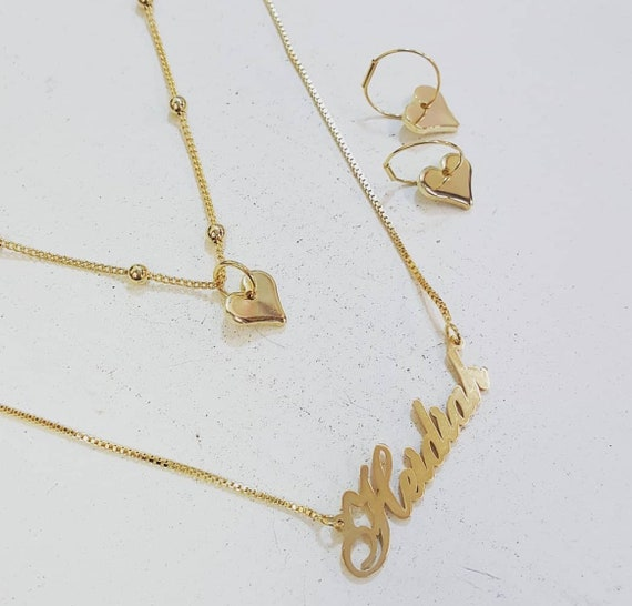 NecklaceTwo Layers Necklaces Custom Name Layering With Earrings 2 And Set kZwPTOiuX