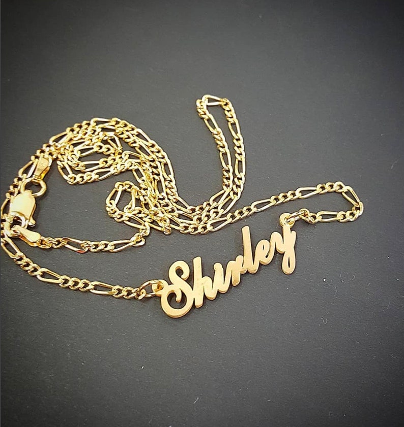 NecklaceElegant Double Plated With Cursive Thick Thicker Chain Figaro Name Yellow Gold b6ygYf7