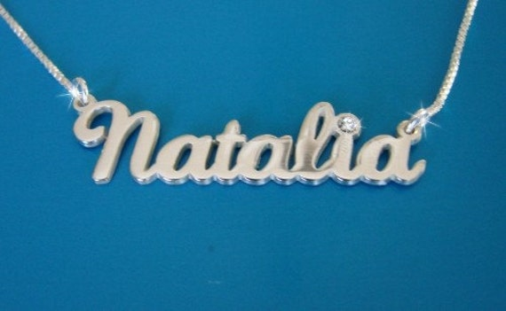 Natalie Style Name Necklace With Swarovski Birthstone Double Etsy