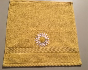 Yellow Embroidered Washcloth with a Daisy