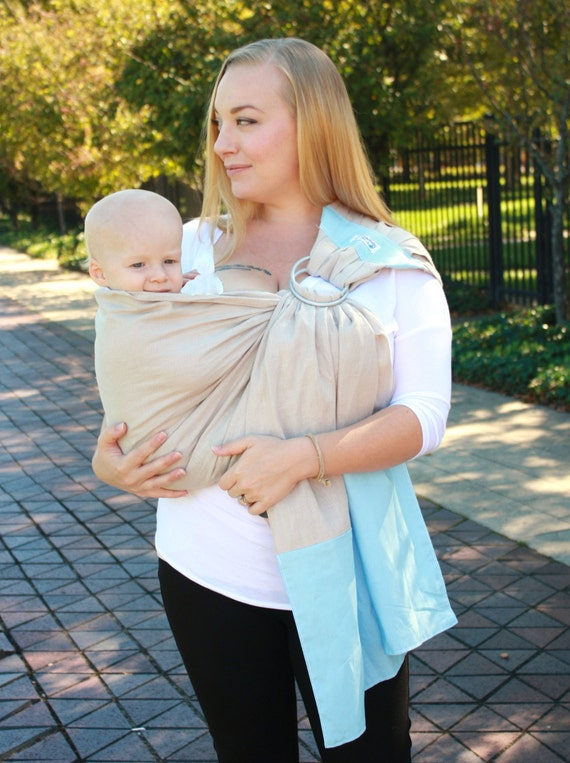 cc4171a79f9 Baby Sling Linen Banded Ring Sling Baby Carrier Sand   Sky