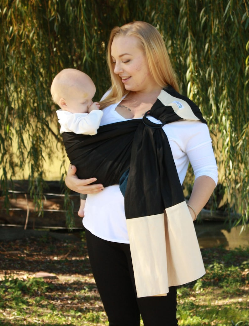 bdea646a36e Wide Pleated Shoulder Linen Banded Ring Sling Baby Carrier