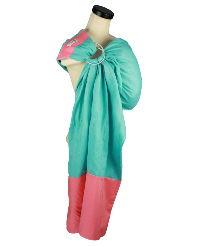 4fd859dcabd Ring Sling Baby Carrier -Turquoise and Coral -Pleated Shoulder for Comfort  -Custom Fit Every Time -Perfect Baby Sling for Summer Babywearing