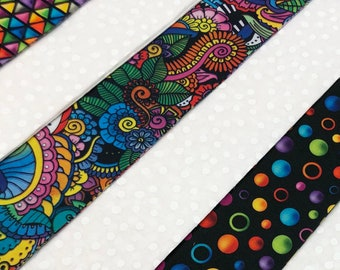 Rainbow & Black Modern Abstract Quilt Strips - 2 1/2 inch wide cotton fabric quilt strips jelly roll - SEW FUN QUILTS