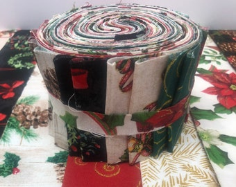Christmas JELLY ROLL - Christmas Quilt Fabric Strips - Sewfunquilts  - Time Saver Kits