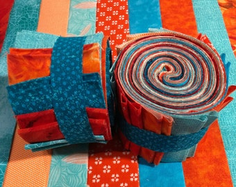 Aqua & Orange Jelly Roll Quilt Fabric Strips - SEW FUN QUILTS Time Saver Quilt Kit- 1 Roll - 20 Strips