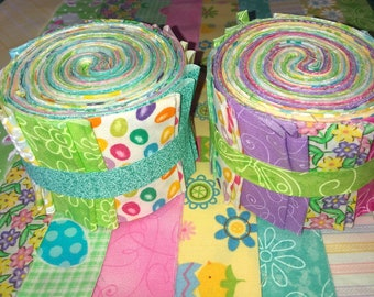 Easter Spring Pastel Quilt Fabric Jelly Roll 20 Strips  - Limited Quantities - SEW FUN QUILTS Time Saver Quilt Kit - 1 Roll
