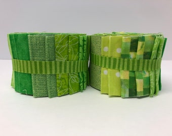 Lime Green Jelly Roll Fabric Strips  SEW FUN QUILTS Time Saver Quilt Kit - 1 Roll - 20 Strips