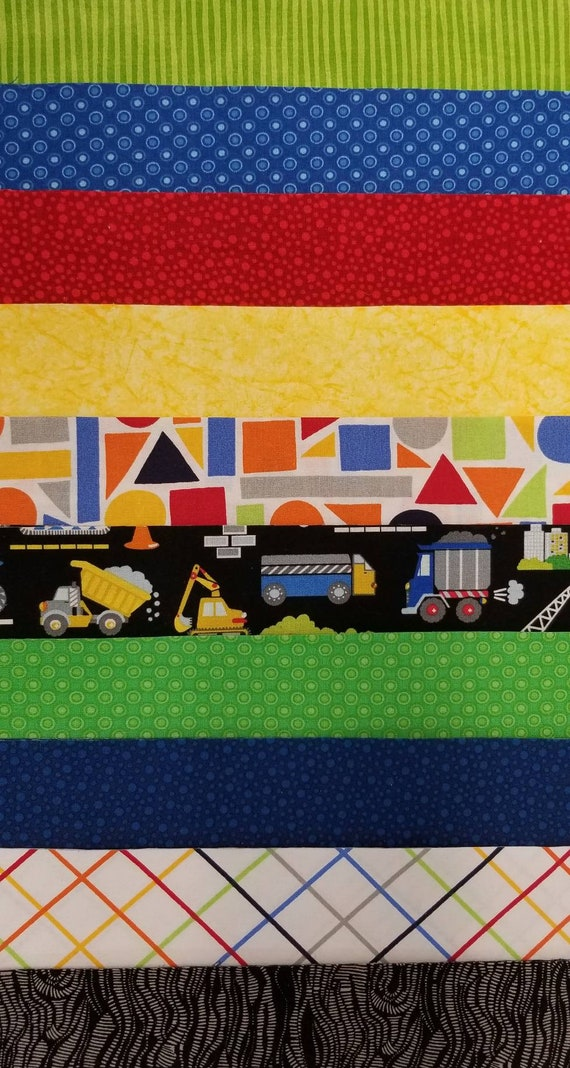 Baby Boy Quilt Kit- Red Blue Yellow Green & Black Quilt Fabric Jelly Roll  with Trucks- SEW FUN QUILTS Time Saver Quilt Kit