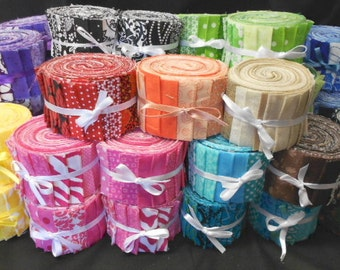 Create Your Own Quilt Fabric Strips Jelly Roll -Design Your Own - Choose any 2 colors, 20 strips- by SEW FUN QUILTS