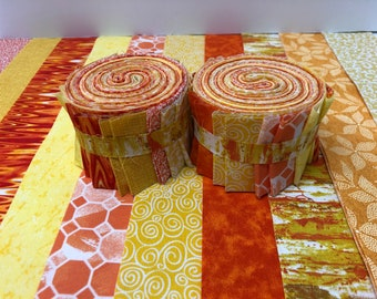 Yellow & Orange Jelly Roll Quilt Fabric Strips - SEW FUN QUILTS Time Saver Quilt Kit - 1 Roll
