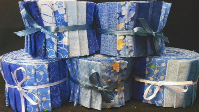 Blue Jelly Roll Quilt Fabric Strips Time Saver Quilt Kits